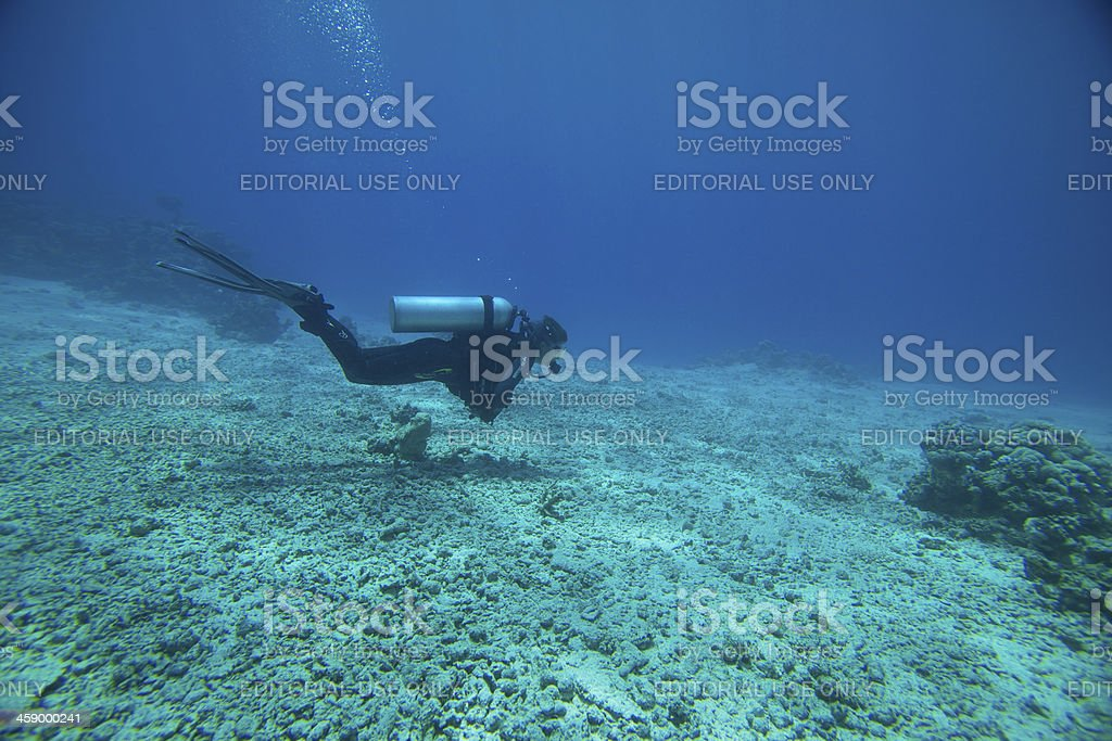 Scuba diver at ten meters decompression stop royalty-free stock photo