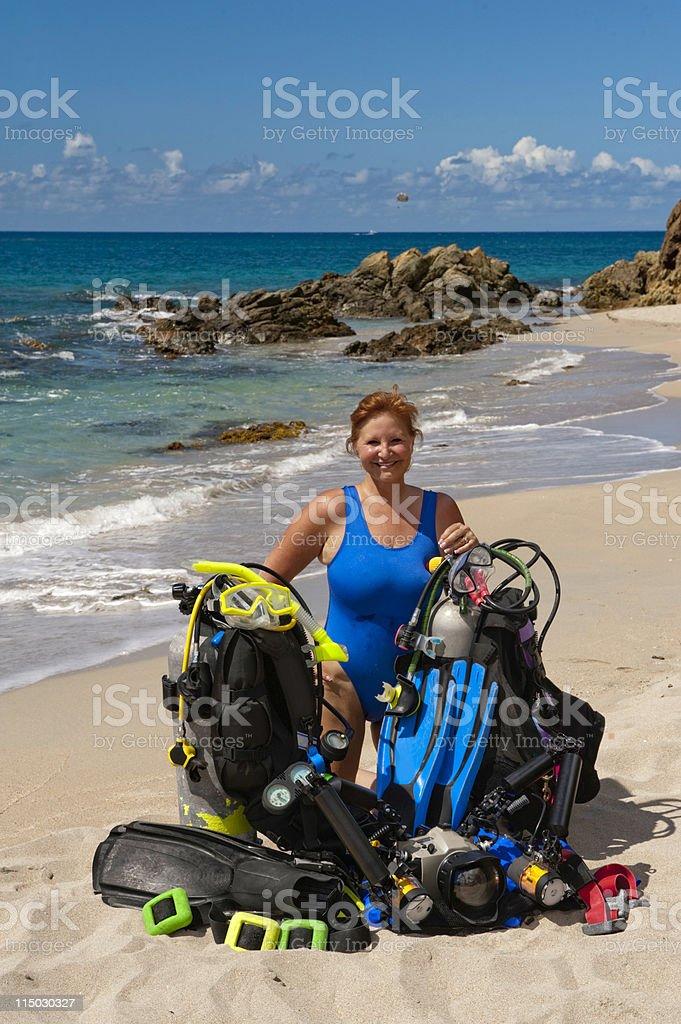 scuba diver equipment stock photo