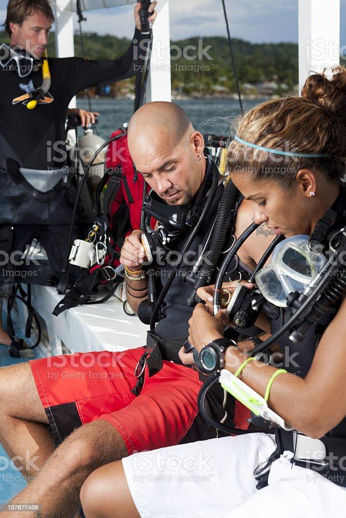 Scuba diver instruction royalty-free stock photo
