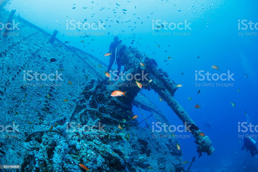 Scuba diver point of view   Wreck Diving  Shipwreck SS Thistlegorm stock photo
