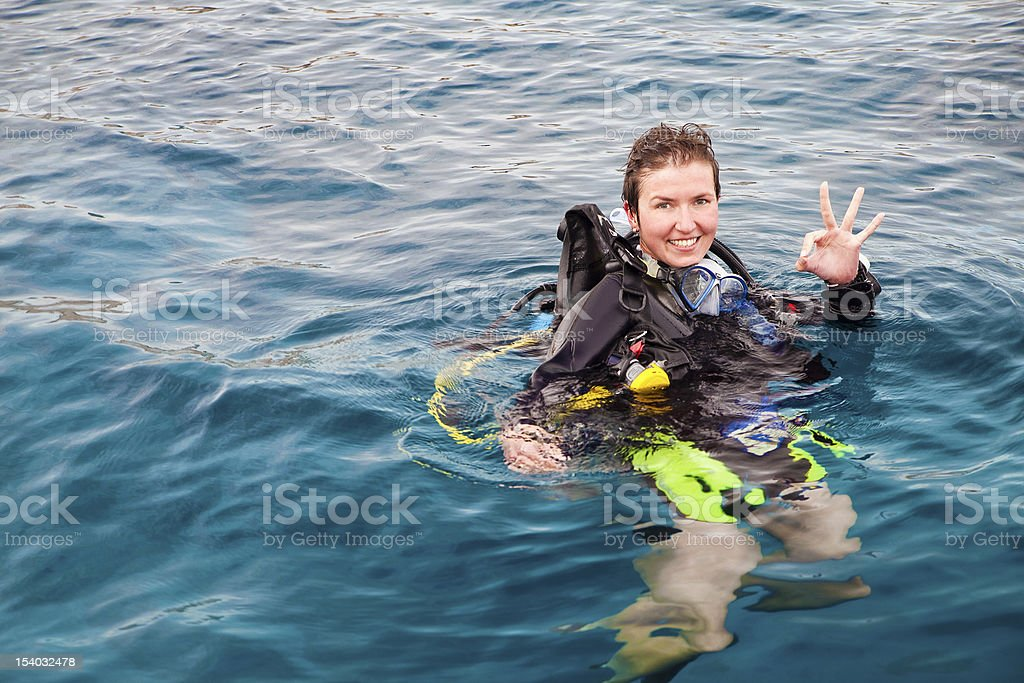 Scuba Diver showing ok sign stock photo