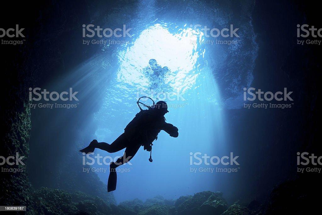 Scuba Diver Silhouette stock photo