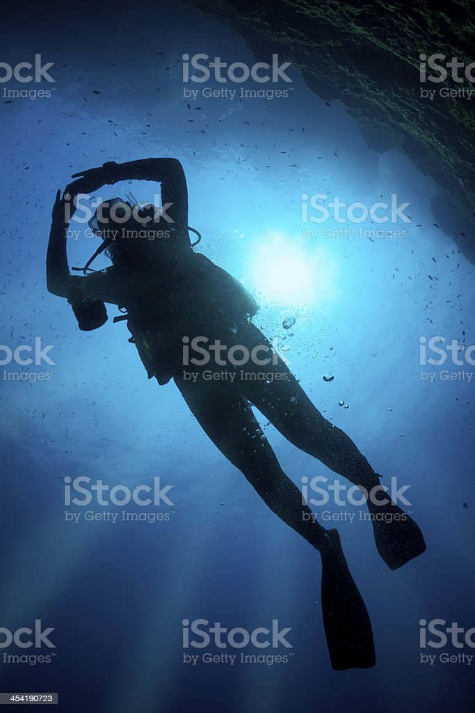 Scuba Diver Silhouette royalty-free stock photo