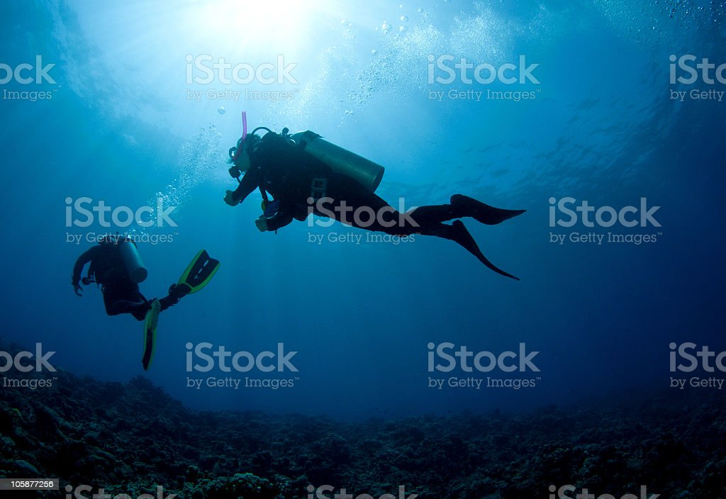 Scuba Diver silhouetted against the sun stock photo