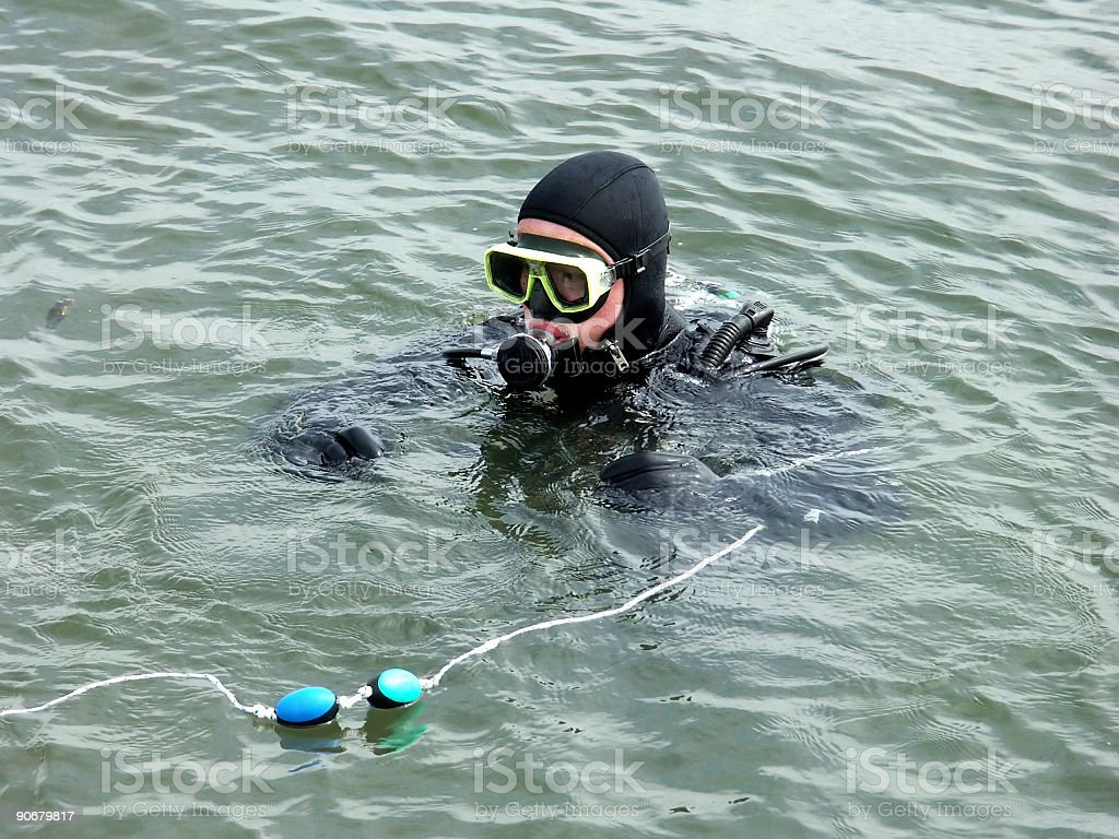 Scuba diver with buddy line in Eastern Scheldt, the Netherlands stock photo