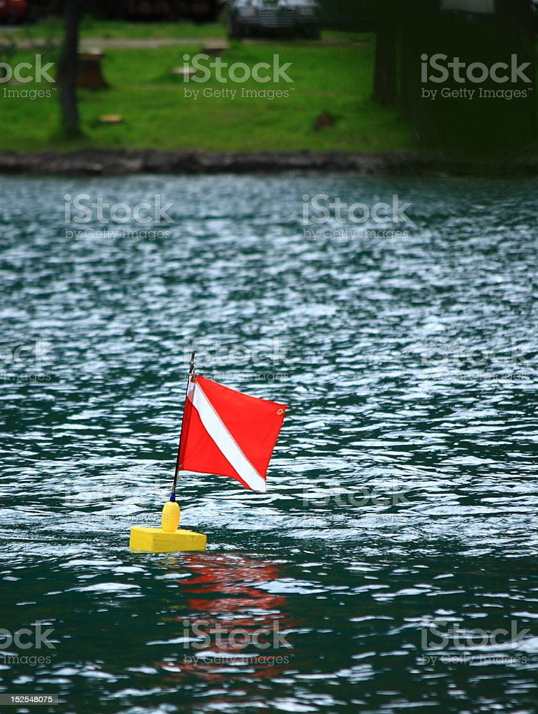 Scuba Diver's Flag in Waterton Lake royalty-free stock photo