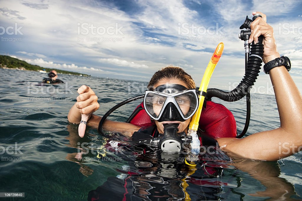 Scuba Divers: Going Down! stock photo