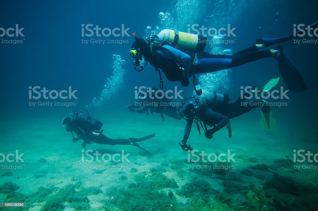 Scuba divers stock photo