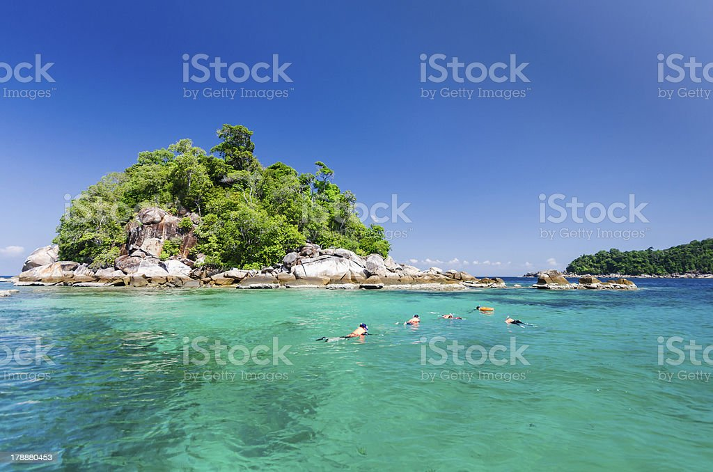 Scuba diving around the small island royalty-free stock photo