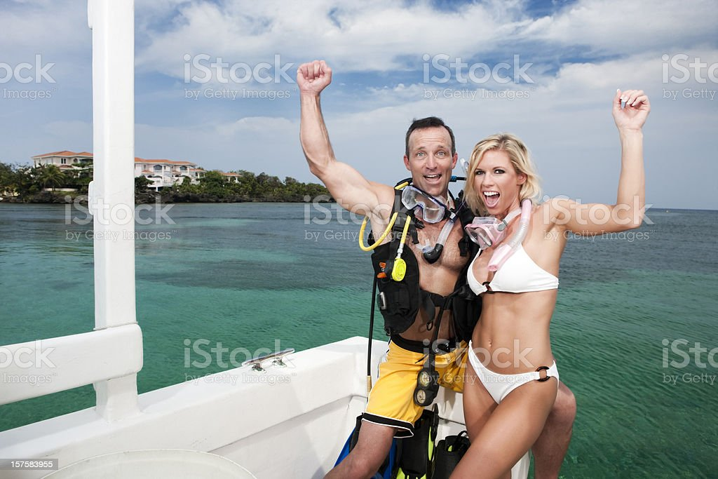 Scuba Diving Couple Excitement royalty-free stock photo
