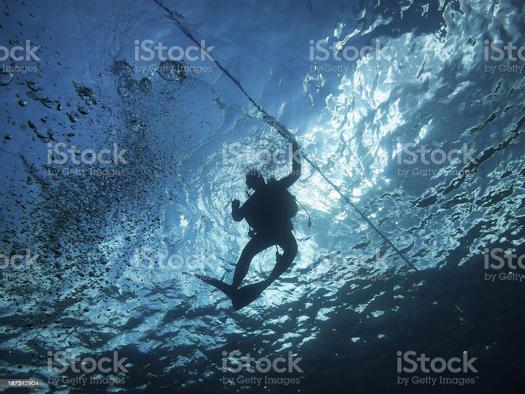 Scuba Diving in Mediterranean Sea royalty-free stock photo