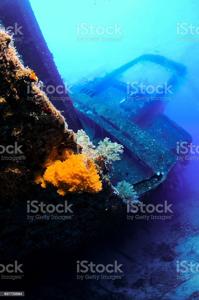Scuba diving in the Red Sea , wreck dive stock photo