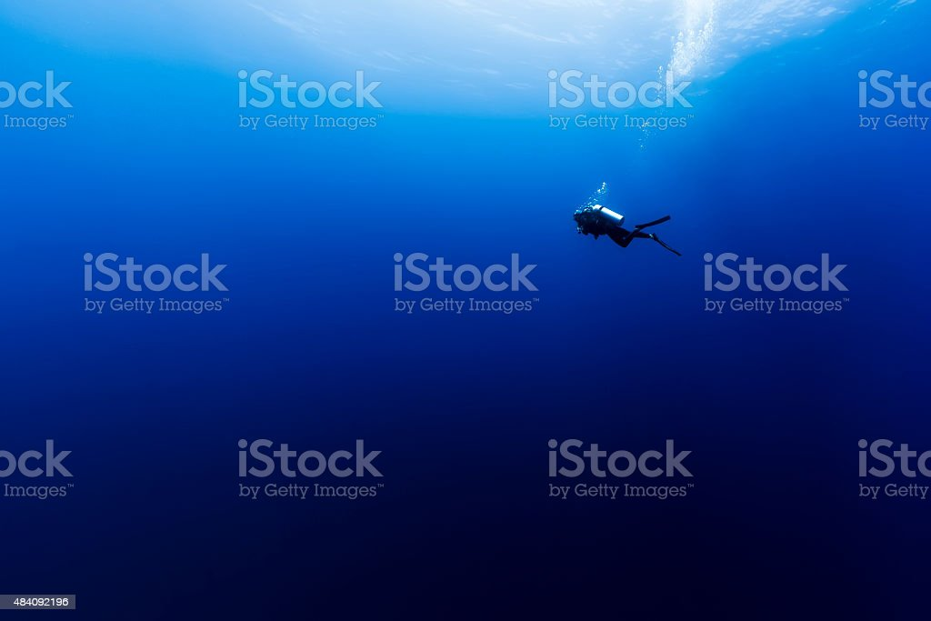 Scuba Diving in the Wild Blue Yonder in French Polynesia stock photo