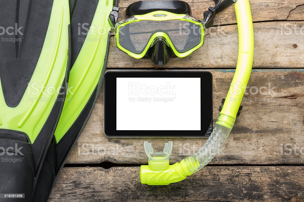 Scuba diving or snorkelling lesson template mock-up background stock photo