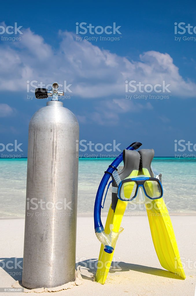 Scuba diving tank, fins and mask stock photo
