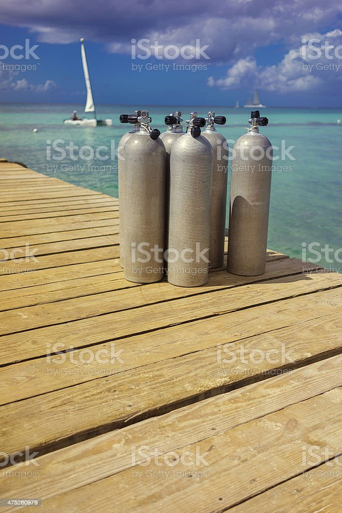 Scuba Diving tanks stock photo