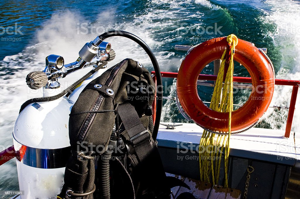 scuba gear on the boat royalty-free stock photo