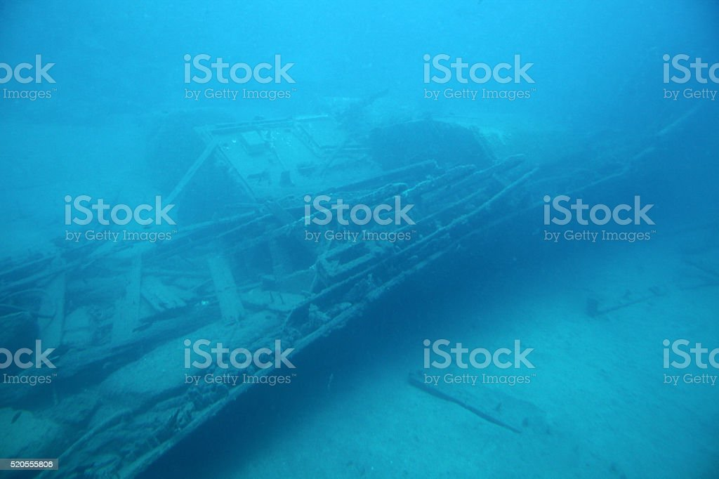 Scuba photo of ship wreck at the bottom of the Atlantic stock photo