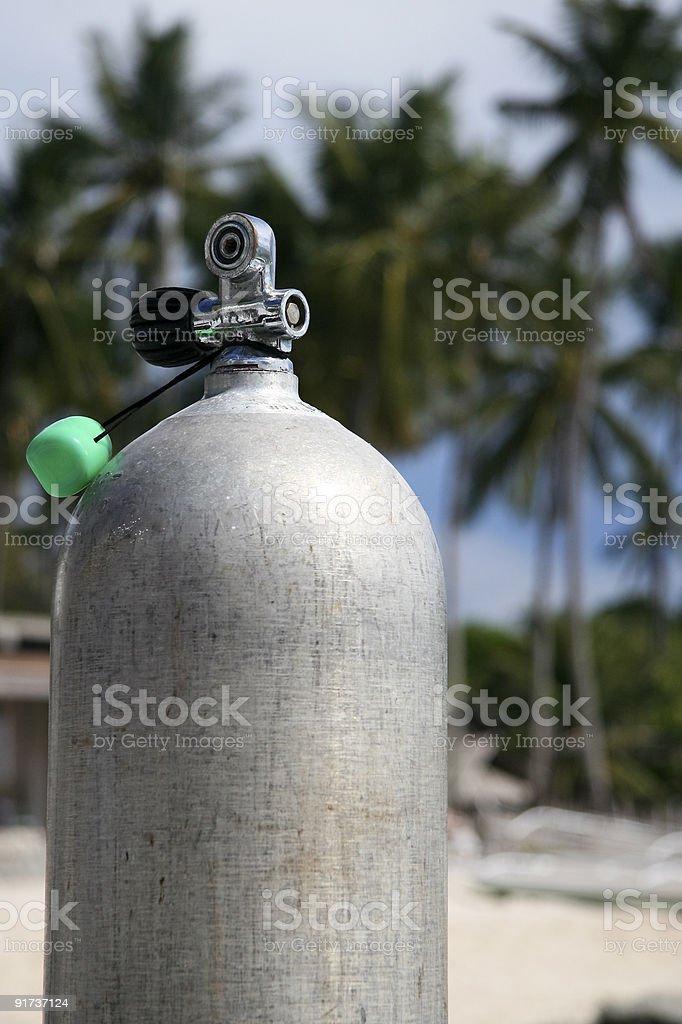 scuba tank on beach royalty-free stock photo