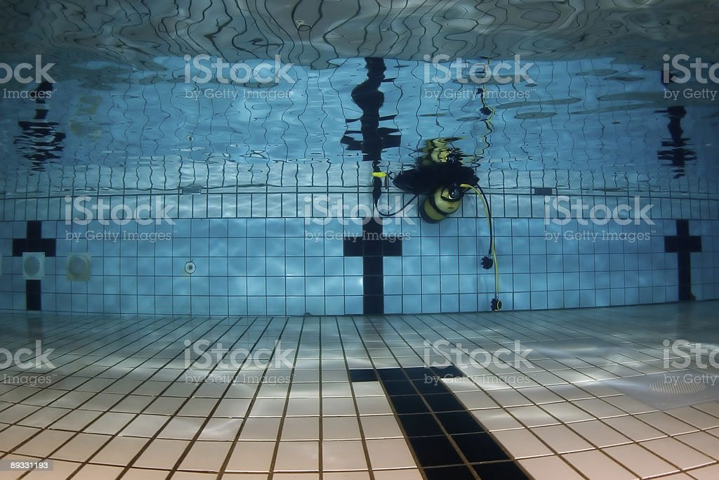 scubagear in pool royalty-free stock photo