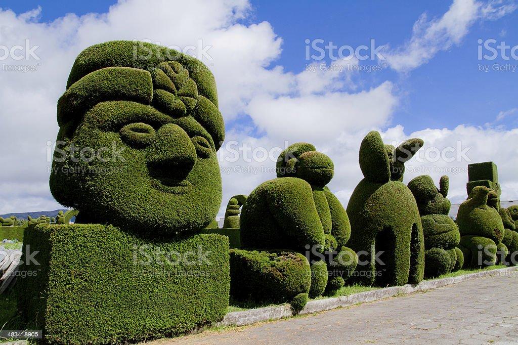 sculpted trees topiary, Tulcan Ecuador stock photo