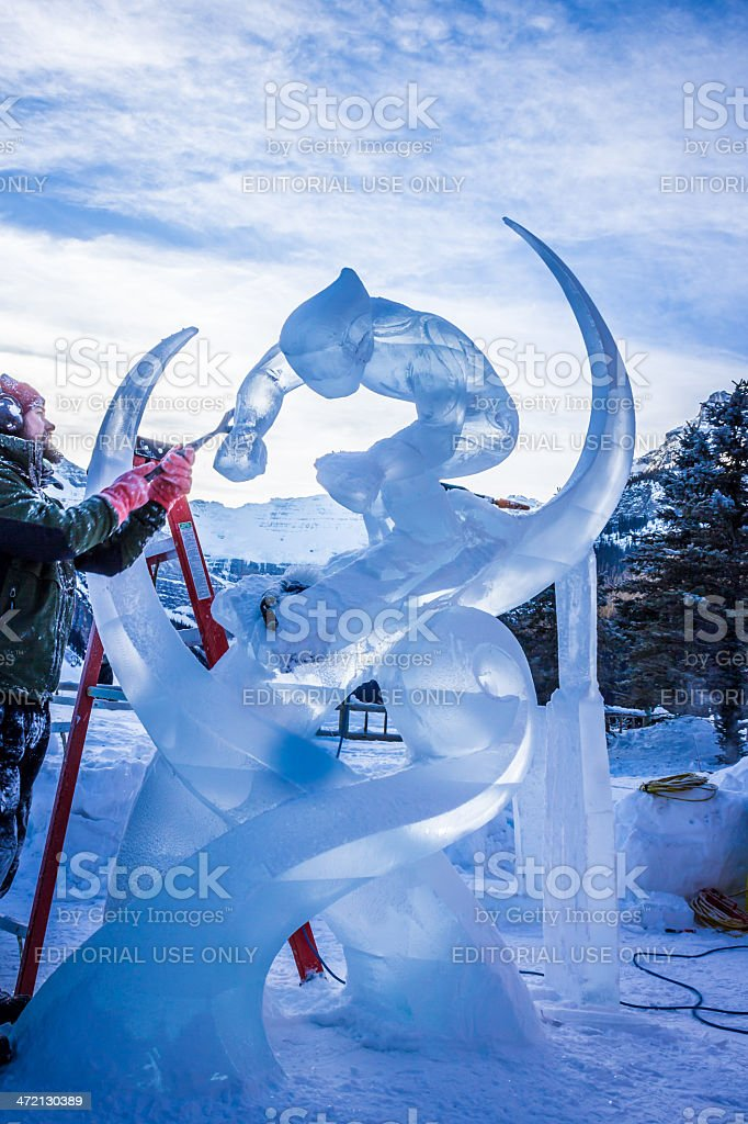 Sculpting at Banff Lake Louise Ice Magic Festival 2014 stock photo