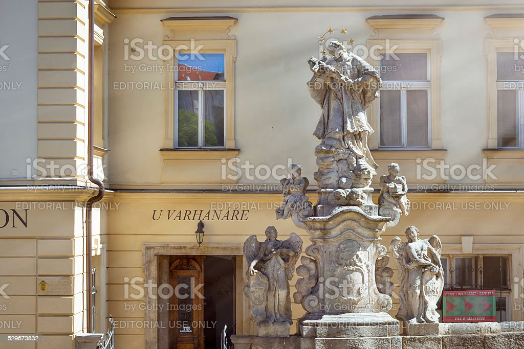 Sculptural group with the angels before Vila U Varhanare stock photo
