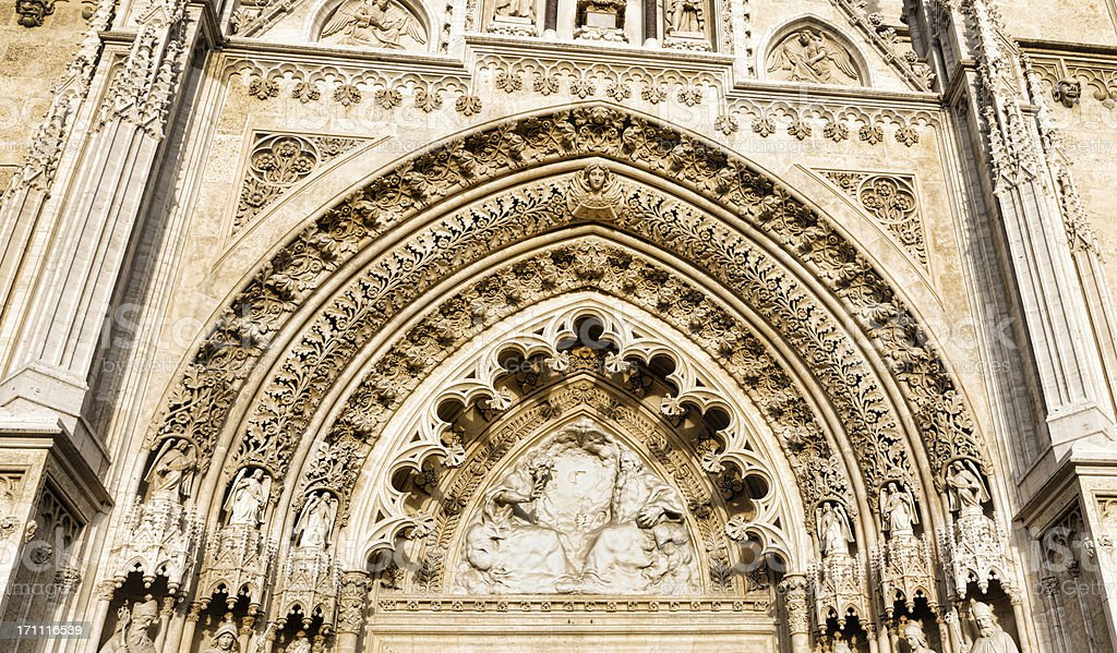 Sculpture above main entry of Zagreb Cathedral, Croatia royalty-free stock photo