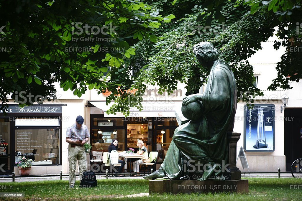 Sculpture Allegory of Science Berlin stock photo