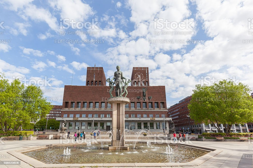 Sculpture and fountain in front of Oslo City Hall stock photo