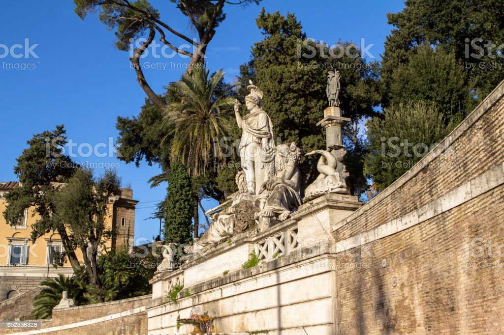 Sculpture and fountain of Piazza del Popolo in Rome stock photo