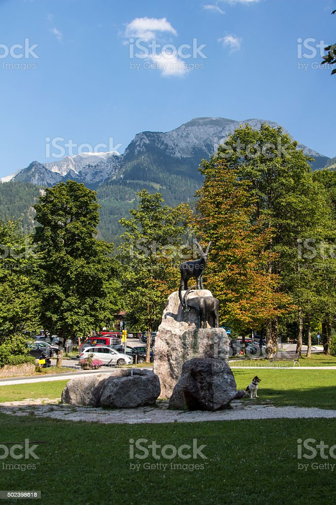 Sculpture at the entrance to the lake Koenigssee, Germany, 2015 stock photo