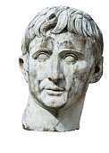 Sculpture Bust Head Caesar Stone Marble Antique Emperor Isolated Clipping-Path