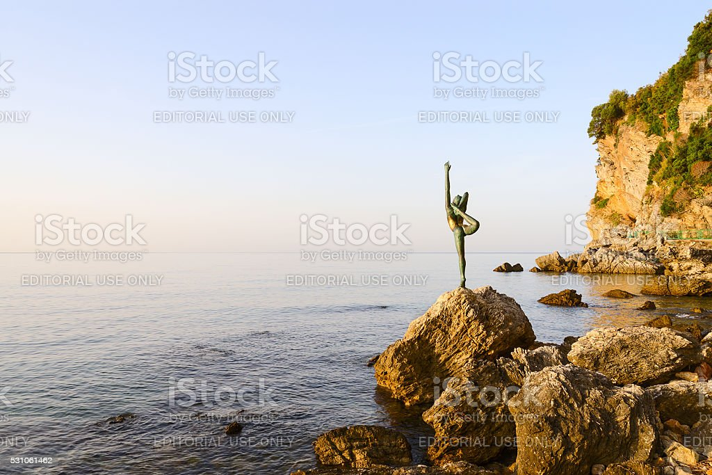 Sculpture Dancer of Budva on way to beach Mogren, Montenegro stock photo