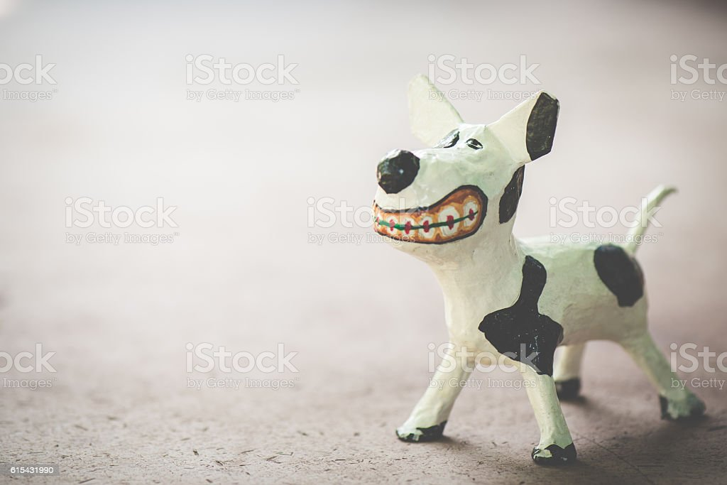 Sculpture dog ,made from paper mache stock photo