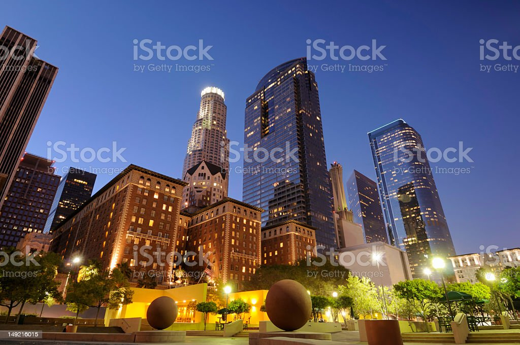 Sculpture in downtown park and tall buildings in Los Angeles stock photo