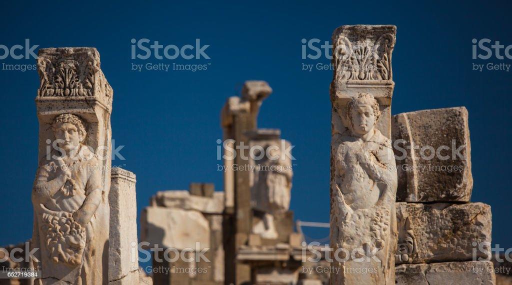 Sculpture in Ephesus stock photo