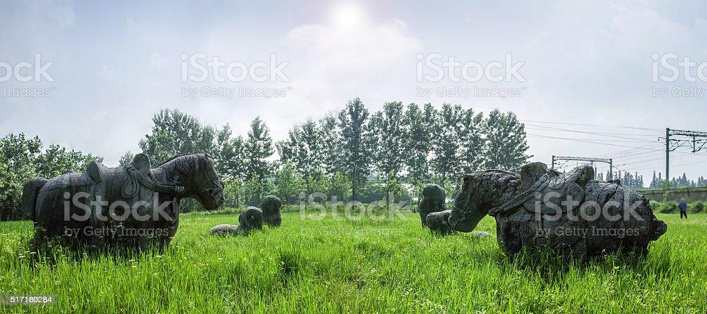 Sculpture in garden stock photo