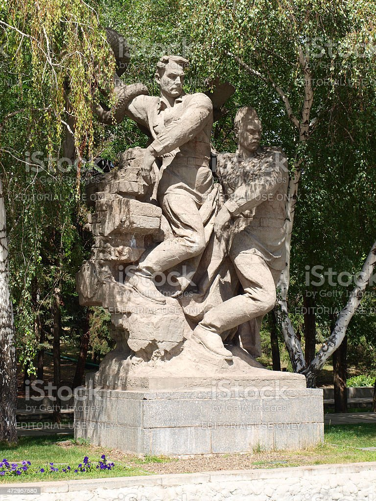 Sculpture in the alley of memory on the Mamaev Kurgan stock photo