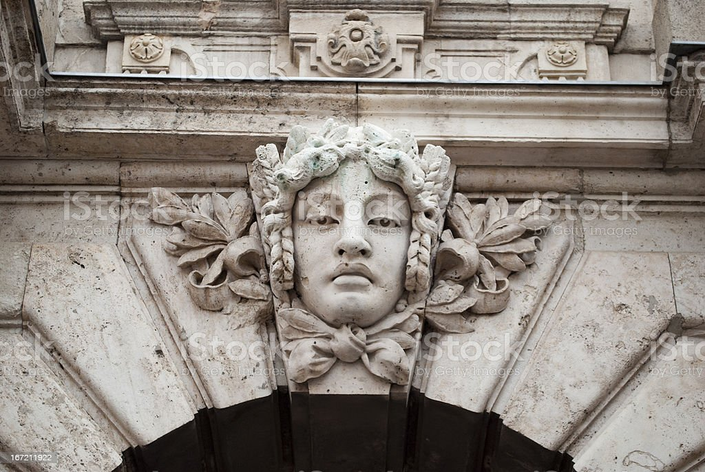 Sculpture in the Buda castle of Budapest royalty-free stock photo