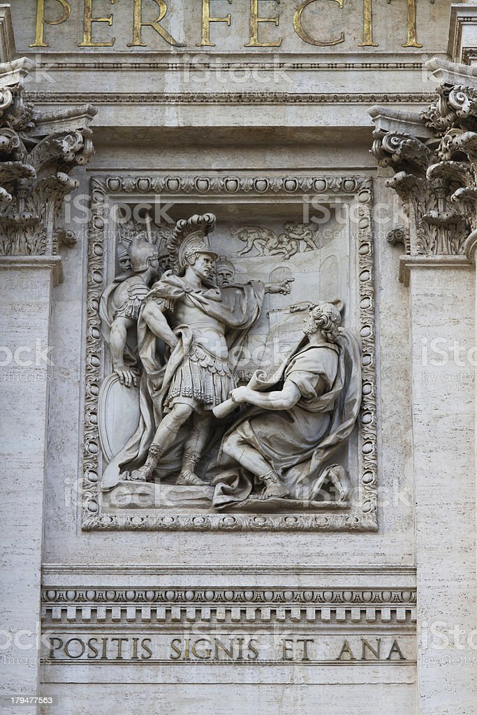 Sculpture in the Fontana di Trevi royalty-free stock photo