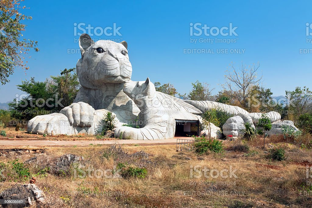 Sculpture near temple tiger tigers (Wat Pha Luang Ta Bua) stock photo