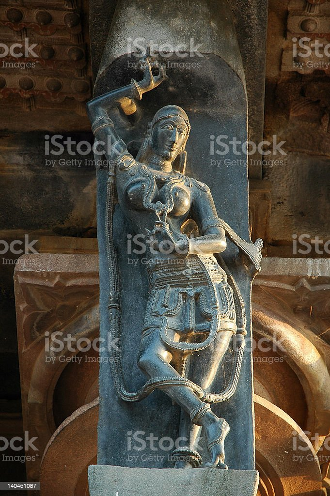 Sculpture of a female dancer from 1000 AD stock photo