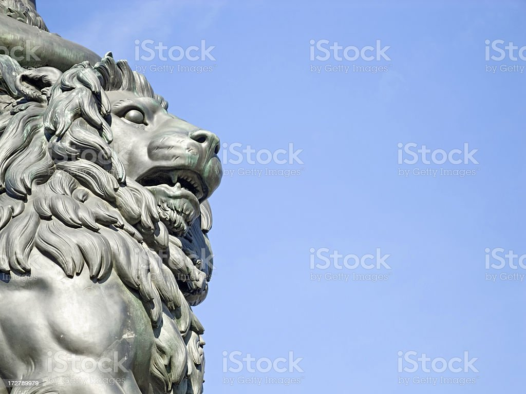 Sculpture of a lion at the Bavaria Monument Theresienwiese Munich royalty-free stock photo