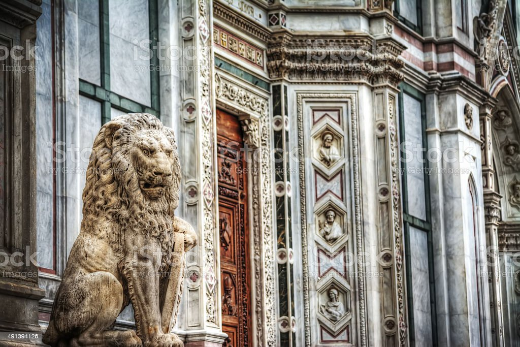 sculpture of a lion in Santa Croce square in Florence stock photo