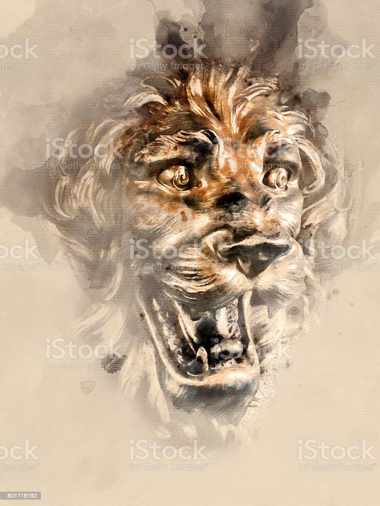 Sculpture of a lion stock photo