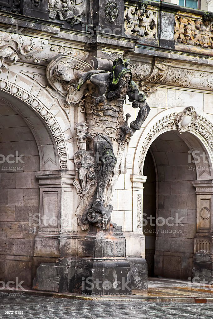 Sculpture of a man on the Georgenbau gates in Dresden stock photo
