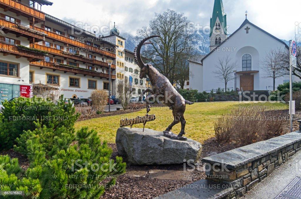 Sculpture of a mountain goat. Mayrhofen, Austria, Tyrol. stock photo