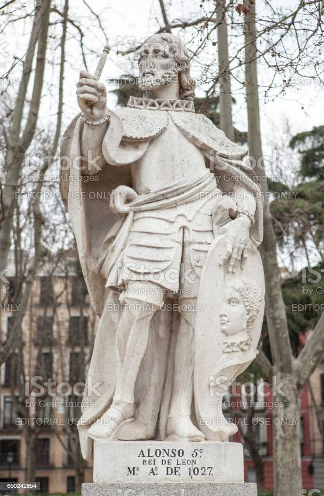 Sculpture of Alfonso V King at Plaza de Oriente, Madrid, Spain stock photo