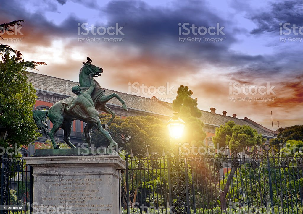 sculpture of an horse and man, Naples, Italy. 19th century, stock photo